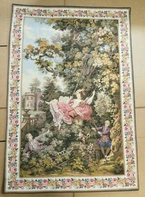"Large Antique / vintage French Wall Hanging Tapestry 40"" x 60"""