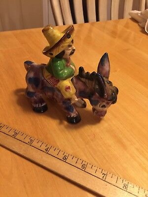 Vintage Japan Donkey Burro Mule With Amigo Ceramic Figurine