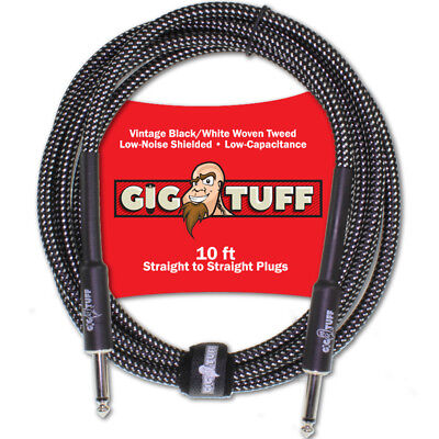 Gig Tuff Pro 10ft Guitar Bass Instrument Cord Woven Tweed 1/4 Free Cable Tie NEW
