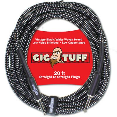 Gig Tuff Pro 20ft Guitar Bass Instrument Cord Woven Tweed 1/4 Free Cable Tie NEW