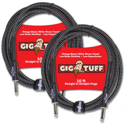 2-Pack Gig Tuff Pro 10ft Guitar Instrument Cable Woven Tweed 1/4 Free Tie NEW