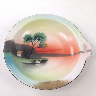 "Vintage Noritake Hand Painted Bowl 6"" Round 1"" Tall Tree Lake Scene House Swan"