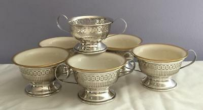 6 Sterling Pierced Soup Bowl Holders +5 Lenox Gold Trim China Liners 402 Grams