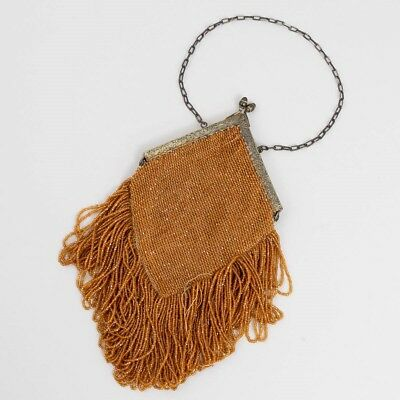 Antique Art Deco Brown Amber Yellow Bead Fringe Tassel Lined Flapper Purse Antiques