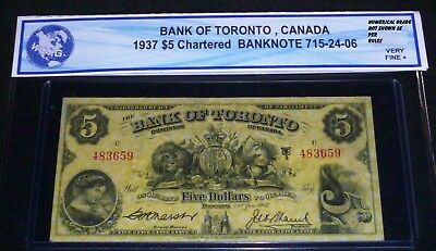 1937 Bank Of Toronto $5  Beautiful Chartered Banknote With  Lovely Images