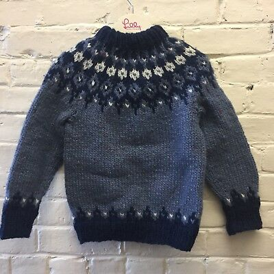 Vintage Hand Knit Wool Nordic Sweater Blue Boy Girl
