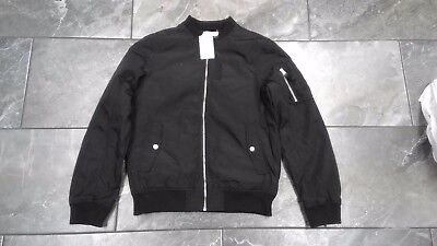fb1d51a9c778 NWT H   M Boys Bomber Jacket Nylon Quilted Lined Black 11-12Y 13-14Y ...