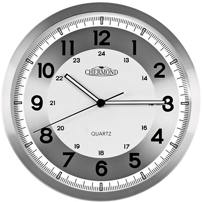 CHERMOND metal wall clock, silver and white face, 24 hour marks, 31cm / 12in