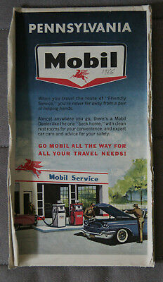 MOBIL CARTE ROUTIERE ROAD MAP 1966 Edition - PENNSYLVANIA