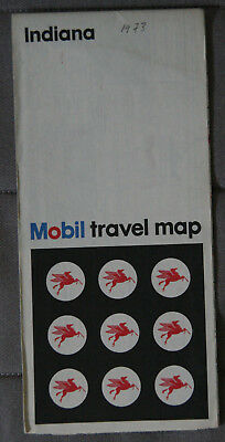 MOBIL CARTE ROUTIERE ROAD MAP 1973 Edition - INDIANA