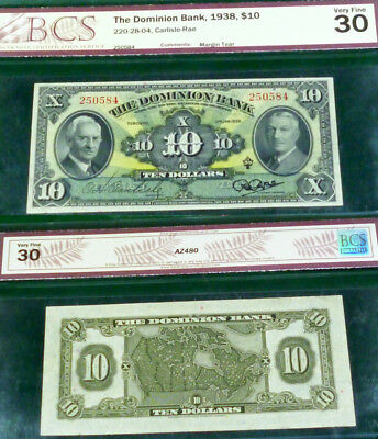 1938 $10 The Dominion Bank , Canada Chartered Banknote