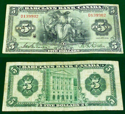 SCARCE 1935 Barclays Bank of Canada $5 Beautiful Banknote (SCARCER THAN THE $10)