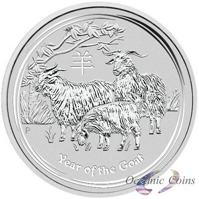 2015 AUSTRALIAN LUNAR YEAR OF THE GOAT - IN CAPSULE - 1 oz. SILVER COIN BU