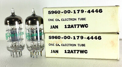Matched NOS GE JAN 12AT7AWC 12AT7A WC Vacuum Tubes Same Codes Hickok Tested