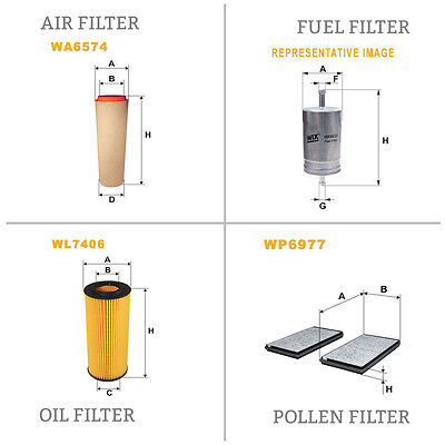 WIX Air le Pollen Huile & Carburant Kit Filtre WA6574,WP6977,WL7406,WF8365