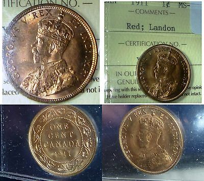 Canada 1911   Large Cent ,RED HIGH gRADE -  FULL RED -FROM LANDON COLLECTION