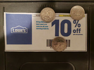 [5 Qty.]Lowe's 10%-Coupons Off Total Purchase - These expire on 12/31/18