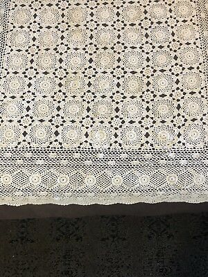 Vintage Crochet Lace Tablecloth or Bedspread Ecru Beige Color Cotton Clean Nice