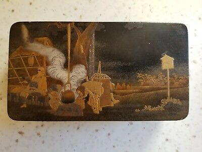 Japanese Lacquered Box with Wonderful MAKIE of Camp Scene