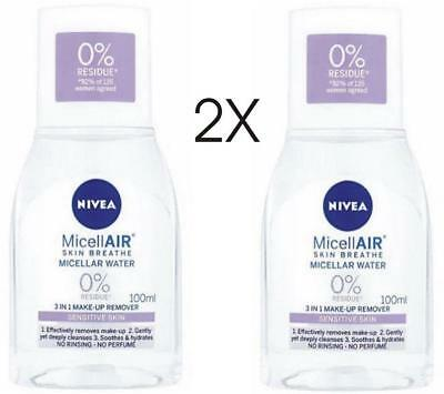 2X Nivea Micellar Water Sensitive Skin 3in1 Makeup Remover 2 x100ml NEW