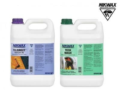 Nikwax Tech Wash & TX Direct Wash In 5 Litre Twin Pack Waterproofing Cleaner