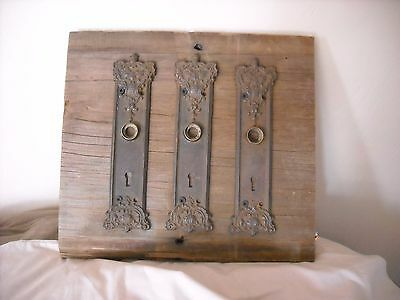 antique  primitive wood picture door key holes reclaimed old pieces vintage
