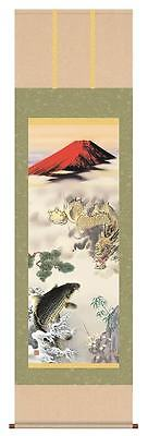 japanese hanging scroll  Dragon, carp  and red Mt. Fuji