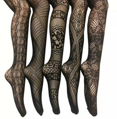 Frenchic 5 Pack Fishnet Lace Stocking Tights Pantyhose - Size 1x/2x
