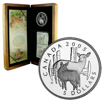 CANADA 5 Dollars 2005 Deer & Fawn Silver Proof Coin & Stamp Set
