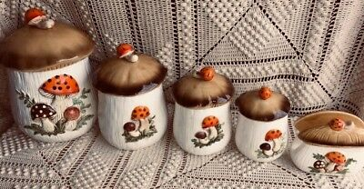 Vintage 1978 Sears Roebuck & Co Merry Mushroom 4 Canisters With Napkin Holder
