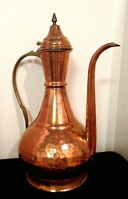 Antique Turkish Ottoman Persian Islamic Copper Wine Water Ewer Dallah Coffee Pot