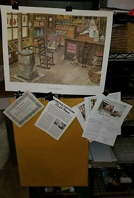 RARE 1985 #106 of 850 SIGNED PAUL BROWN COCA-COLA LITHOGRAPH MOM & POP GROCERY
