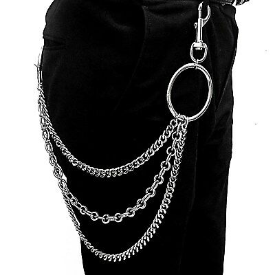 0485d274e8f9 TOW LAYERS METAL Pants Chain Hip Hop Big Ring Keychain Wallet chain ...