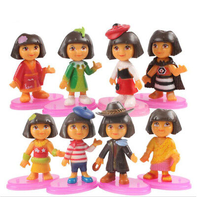Dora the Explorer 8 PCS Various Dora Action Figure Cake Topper Kid Gift Doll Toy