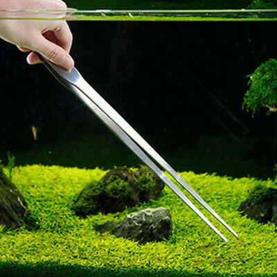 27cm Aquarium Fish Tank Live Plant Curve Long Tongs Stainless-Steel Tweezers New