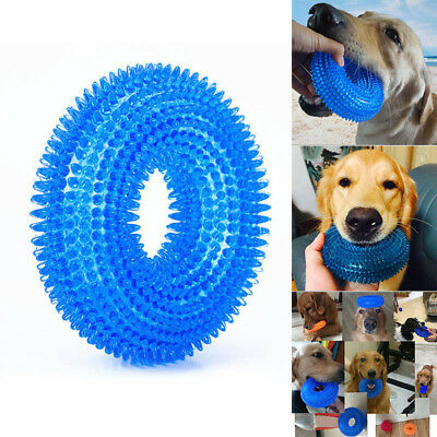 Pet Dog Bite Sound Chewing Toy Chew Cleaning Teeth Training Non-toxic Soft Ring