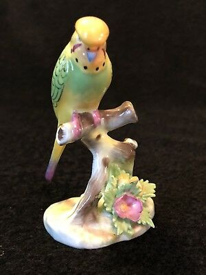 Vtg Adderlay Bone China Green & Yellow Budgie Budgerigar Parakeet Bird Figurine
