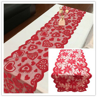 Red Vintage Lace Table Runner Doily Wedding Party Valentines Day Decor 13x72inch