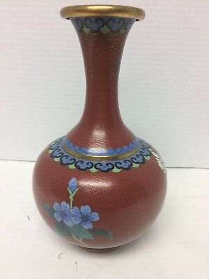 Beautiful Cloisonne Vase Red Brick Cloud Pattern, Blue Mums