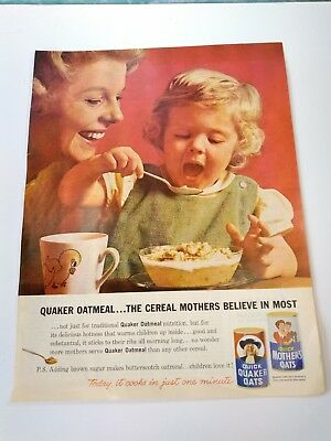Vintage 1961 Quaker Oats magazine ad oatmeal breakfast cereal mother and child
