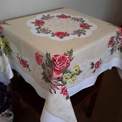 Vintage Retro Beige Red Rose Floral Square Supper Table Cloth