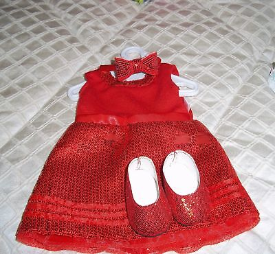 Red Sequin Dress Matching Shoes & Headband Set for 18in  American Girl Accs