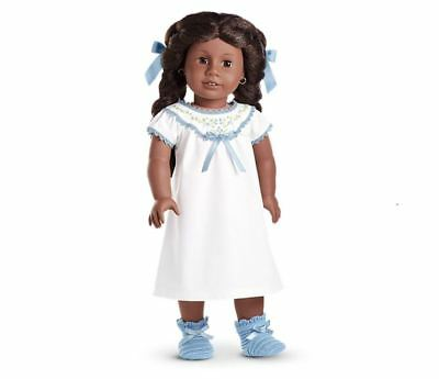 AMERICAN GIRL Beforever ADDY Nightgown slippers hair combs-NIB-white/blue ribbon