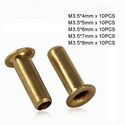 50pc M3.5 x (4mm-8mm) Copper Brass Eyelet Hollow Tubular Rivets Through Nuts Kit