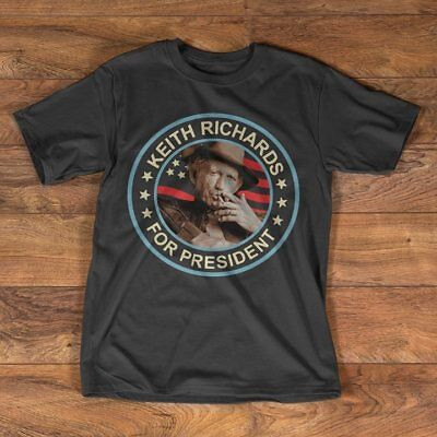 Keith Richards For President T Shirt Black Cotton Men M-3XL