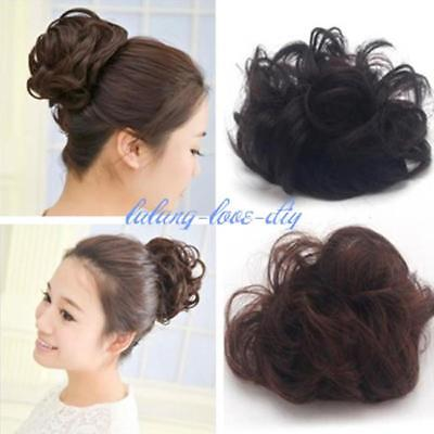 Women Girls Scrunchie Large Curly Hair Ponytail Holder Hairpiece 3 Colors OO