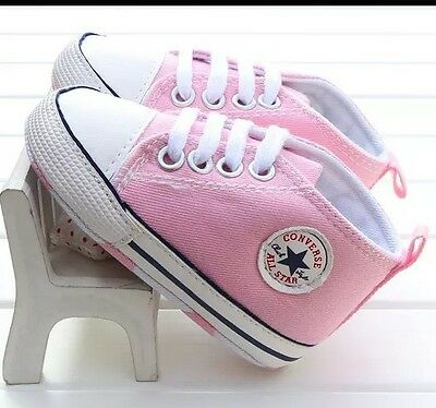 Baby Girls Pink Canvas Shoes Converse Brand New