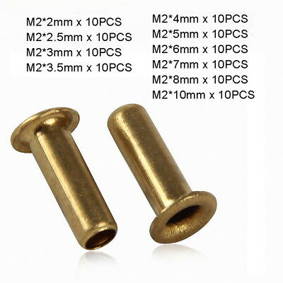 100pc M2 x (2mm-10mm) Copper Brass Eyelet Hollow Tubular Rivets Through Nuts Kit