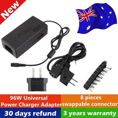 Universal 96W 12V-24V Laptop AC Adapter Power Supply Charger + 8 Connectors OB