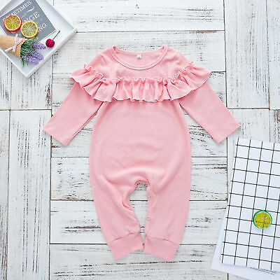 UK Toddler Baby Girls Cotton Romper Bodysuit Jumpsuit Outfits Clothes Playsuit